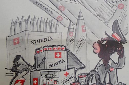 «Posta dalla Svizzera» con le fattezze di Giano bifronte: così l'11 dicembre 1968 la rivista satirica Nebelspalter (p. 11) rappresentava il parallelismo tra forniture di materiale bellico e aiuti umanitari alla Nigeria.