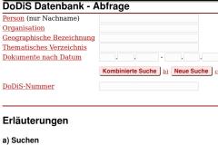 So sah Dodis aus, als die Datenbank 1997 online ging.