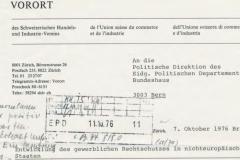 Allzeit bereit, sich für die Verteidigung von Schweizer Wirtschaftsinteressen im Ausland einzusetzen. Briefkopf eines Schreibens von Vororts-Präsident G. Winterberger an das Politische Departement vom 7. Oktober 1976, dodis.ch/49928.