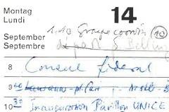 Agenda Pierre Graber, September 1970, dodis.ch/48161