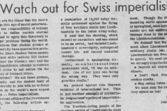 «The world's most urgent problem – Swiss imperialism.» Annonce du journal de l'université du Maryland