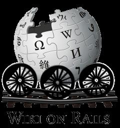 Logo costituito dal globo wikipedia portato su rotaie da un veicolo dotato di tre grosse ruote di locomotiva a vapore